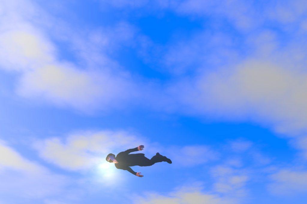 サラリーマン飛ぶ